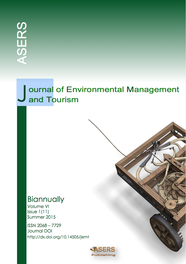 Journal of Environmental Management and Tourism, Volume VI, Summer, 1(11): 25-36, 2015.
